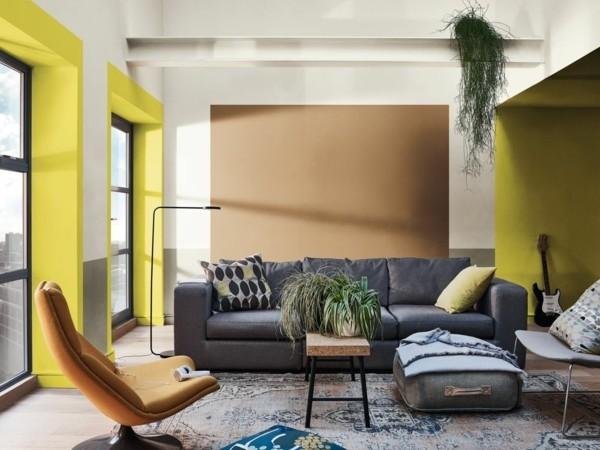 neon gelb spiced honey wandfarben ideen wohnzimmer