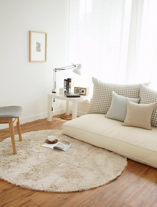 neutral tones living room floor cushions couch