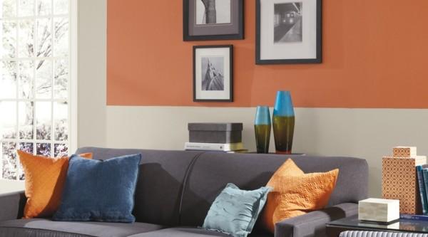 orange wandfarben ideen wohnzimmer