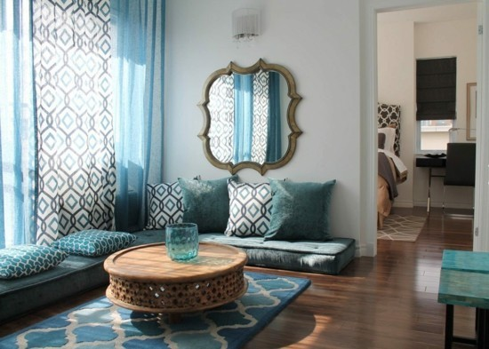 set up in oriental style with floor cushions