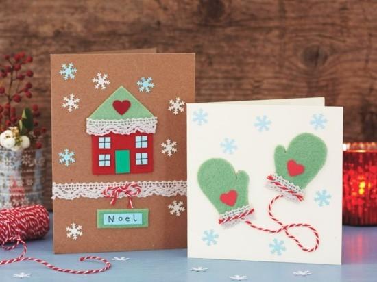 originelle weihnachtskarten basteln filzpapier