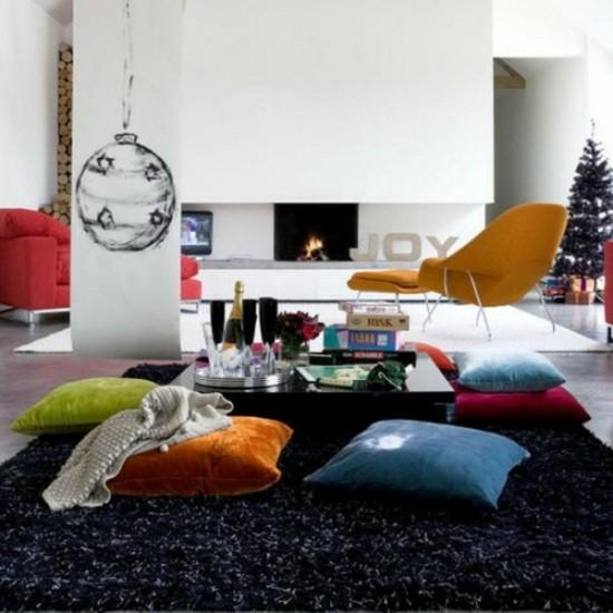 pastellfarbene bodenkissen wohnzimmer