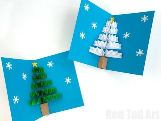 pop up weihnachtskarten basteln mit kindern tannenbaum