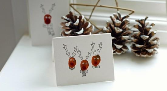 rentiere fingerabdruck weihnachtskarten basteln mit kindern