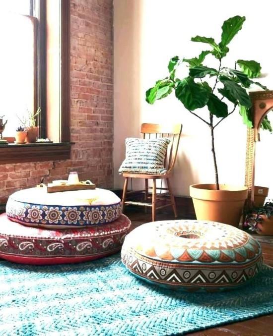 runde bodenkissen wohnzimmer