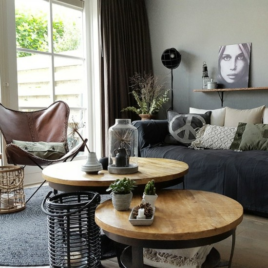 scandi boho furnishing ideas side tables leather armchairs