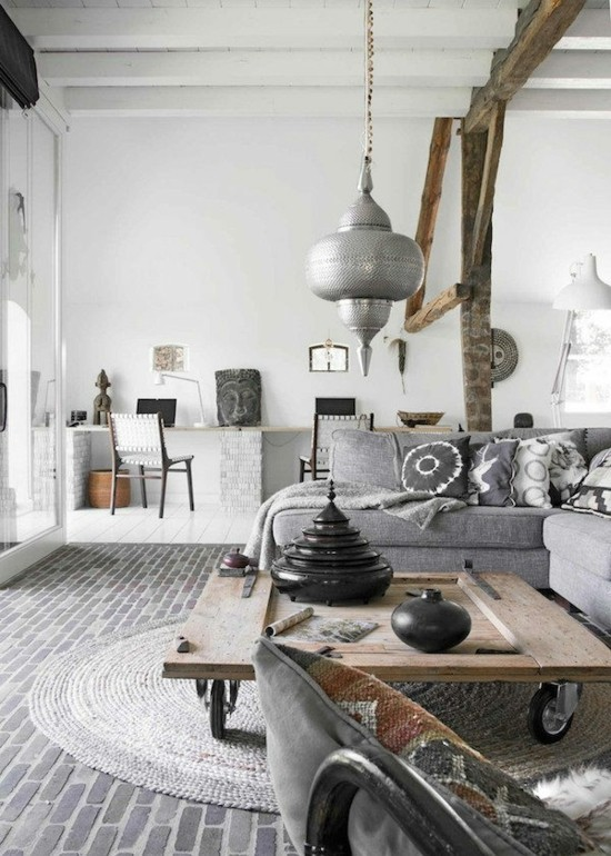 scandi boho style home decor living room