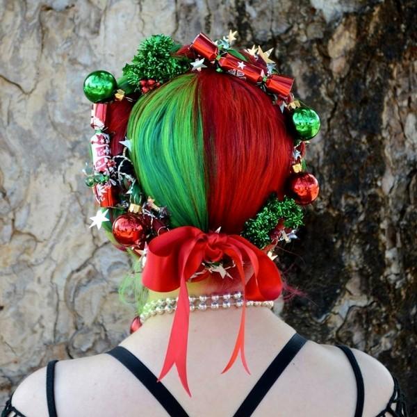 schöne frisuren rot grüner spray