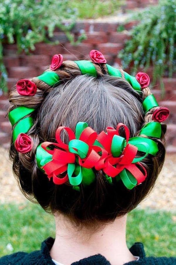 schöne frisuren weihnachten kranz