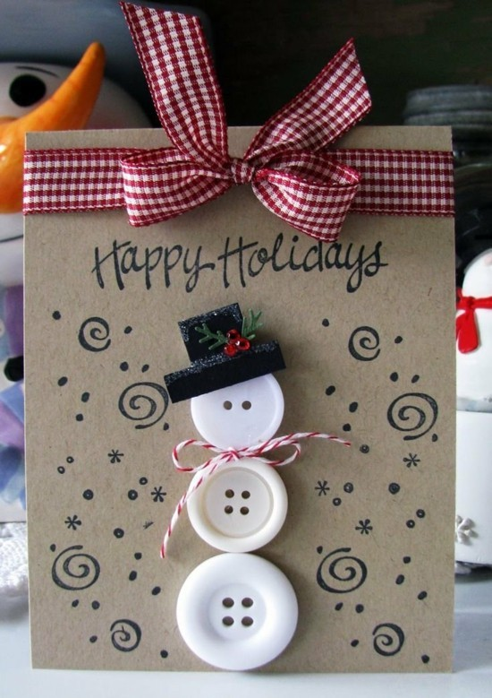 schneemann aus knöpfen weihnachtskarten basteln mit kindern