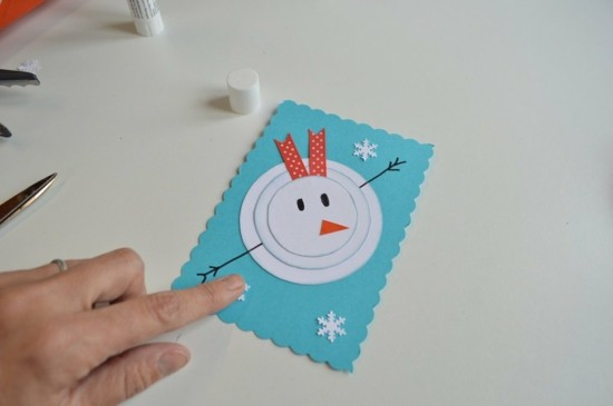schneemann kleine weihnachtskarten basteln mit kindern