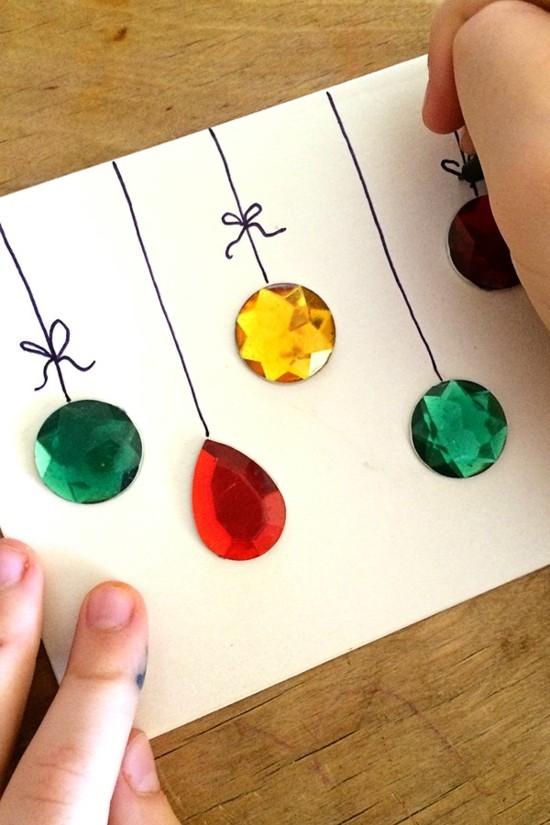 strasssteine pailletten weihnachtskarten basteln mit kindern