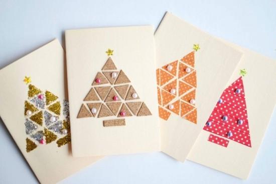 tannenbäume einfache weihnachtskarten basteln