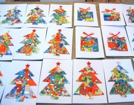 tannenbaum pailletten weihnachtskarten basteln mit kindern
