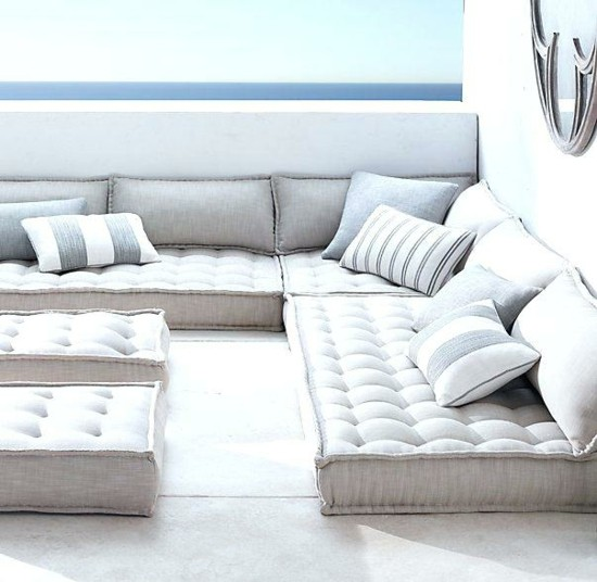 terrace set up with floor cushions