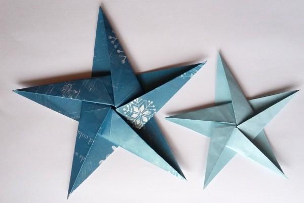 tolle blaue sterne papiersterne basteln