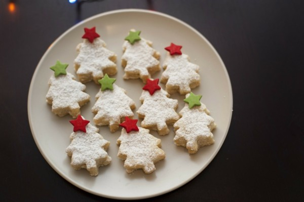 Plate of Christmas tree cookies