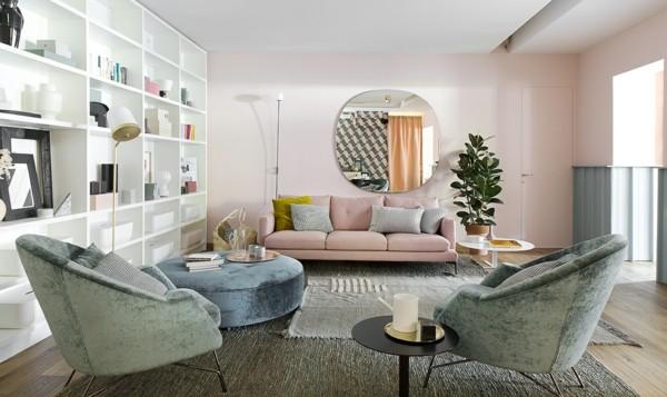 wandfarben ideen hellrosa wohnzimmer
