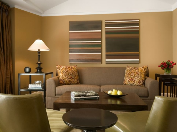 wandfarben ideen wohnzimmer spiced honey