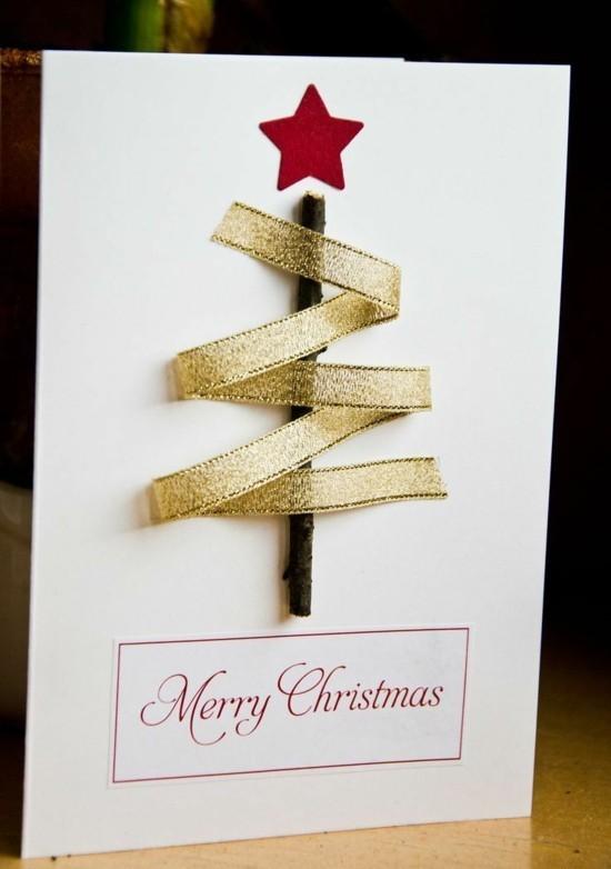 weihnachtsbaum motiv weihnachtskarten basteln mit kindern