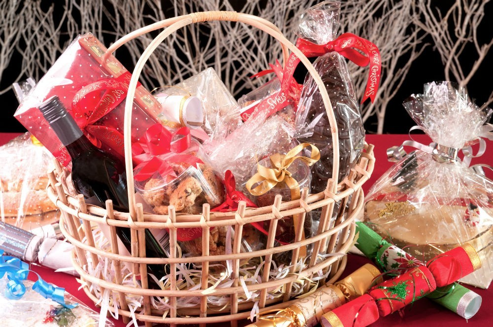 Christmas presents make basket with gifts