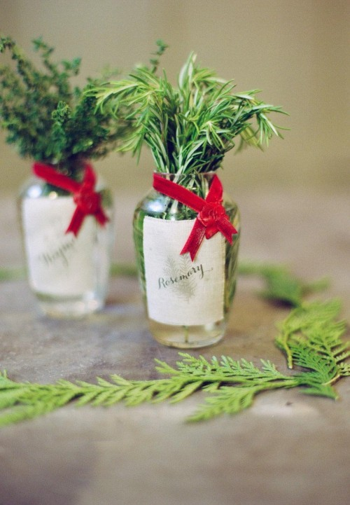 Christmas presents with green decoration