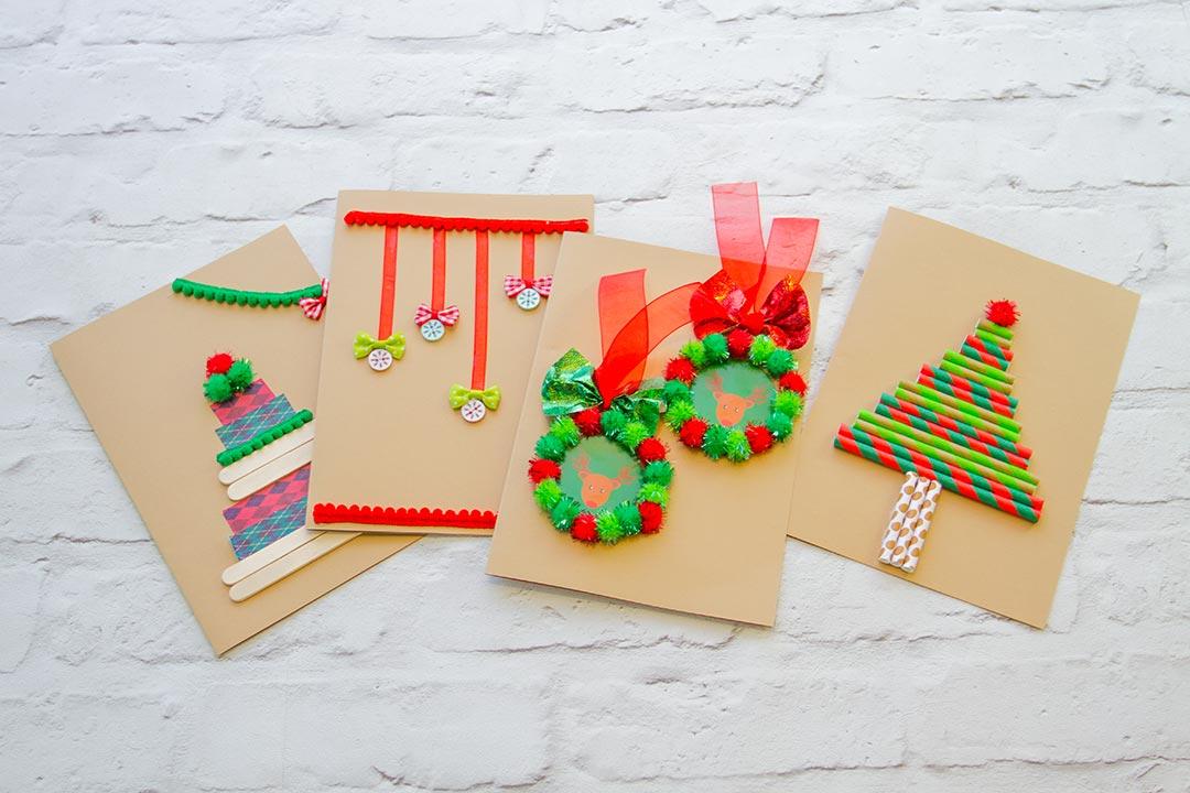 60 originelle weihnachtskarten basteln mit kindern - Como hacer tarjetas de navidad faciles ...