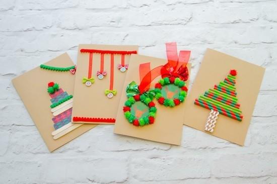 weihnachtskarten basteln bunt und einfach