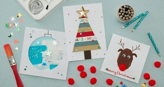 weihnachtskarten basteln mit kindern einfache ideen