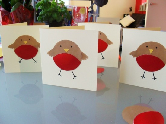 weihnachtskarten basteln mit kindern kleine vögelchen