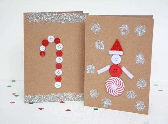 weihnachtskarten basteln mit kindern knöpfe zuckerstange weihnachtsmann