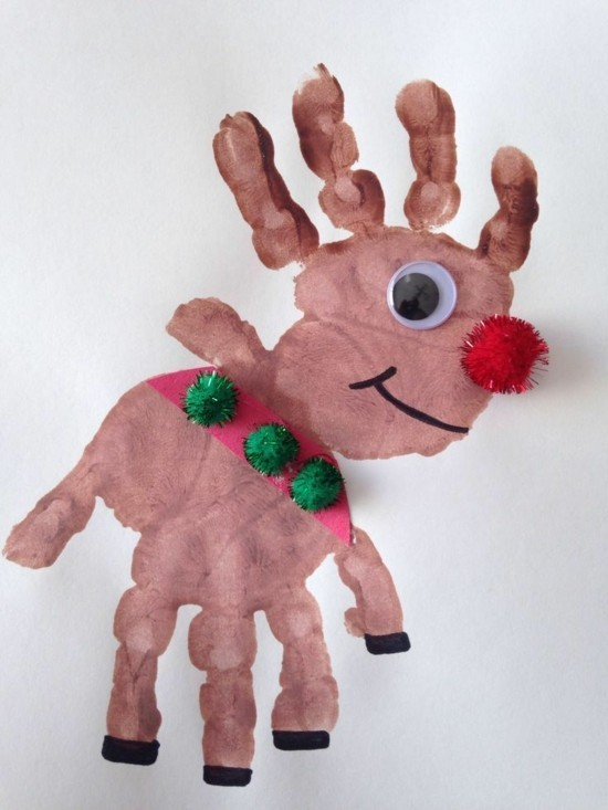 weihnachtskarten basteln mit kindern rentier mit handabdrücken