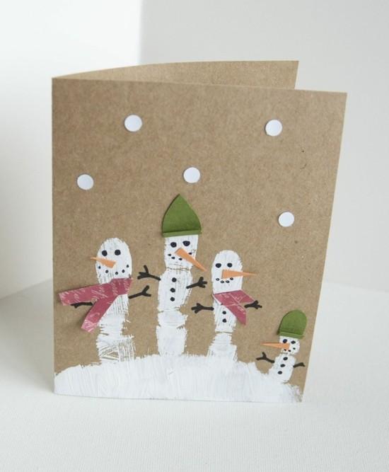 weihnachtskarten basteln mit kindern schneemänner