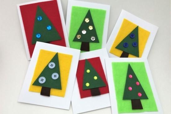 weihnachtskarten basteln mit kindern tannenbäume knöpfe