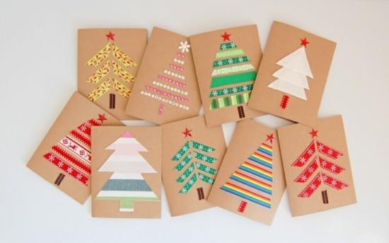 weihnachtskarten basteln mit kindern washi tape