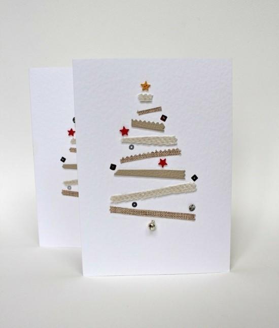 weihnachtskarten basteln tannenbaum aus streifen