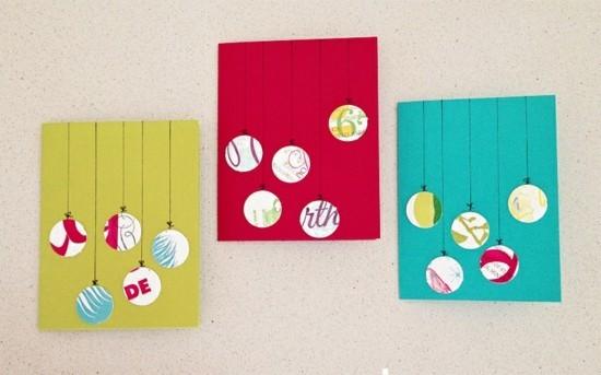 weihnachtskugeln weihnachtskarten basteln mit kindern