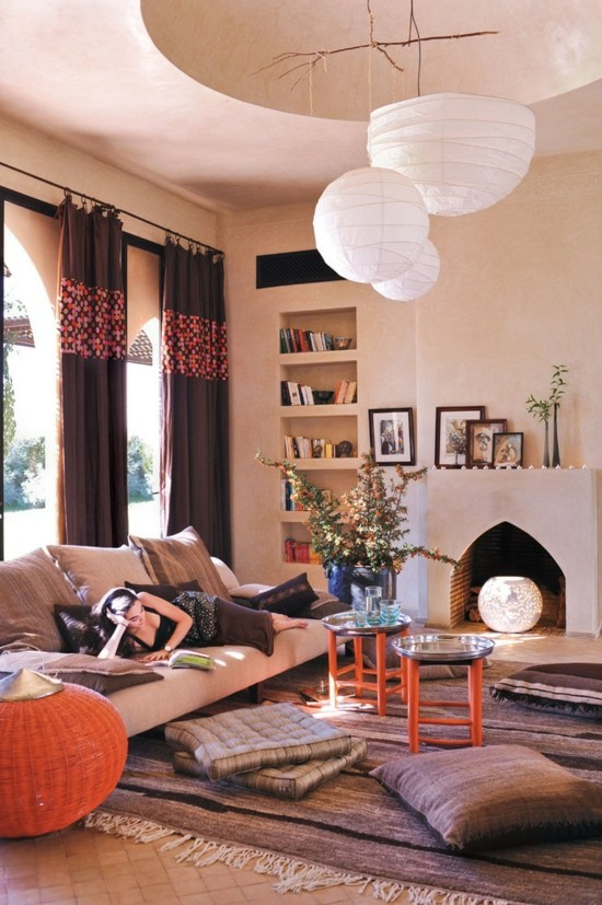 Decorate living room with floor cushions