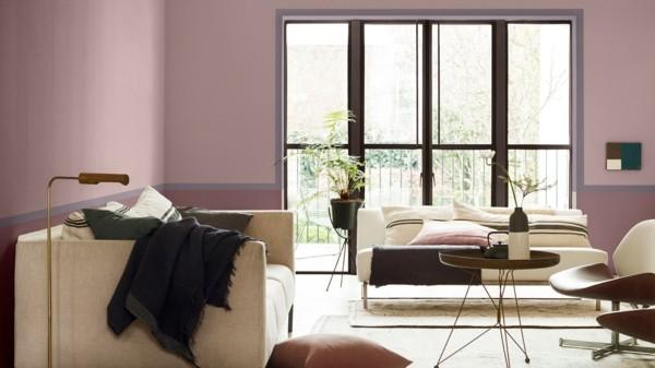 wohnzimmer wandfarben ideen dulux farben heart wood rosa