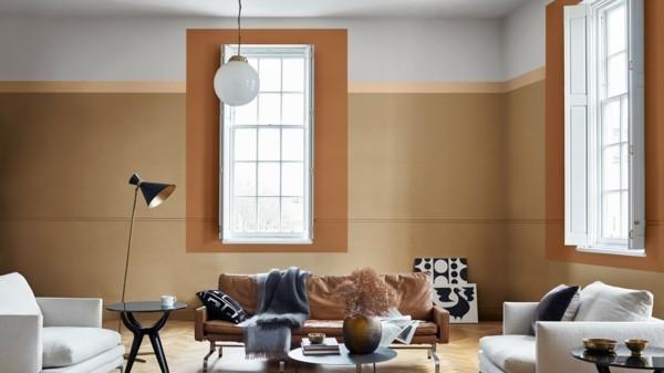 wohnzimmer wandfarben ideen spiced honey