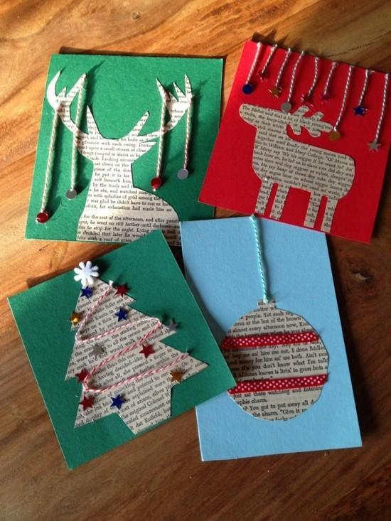 zeitungspapier weihnachtskarten basteln mit kindern