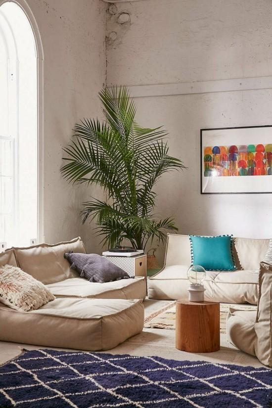 zen feeling living room with floor cushions