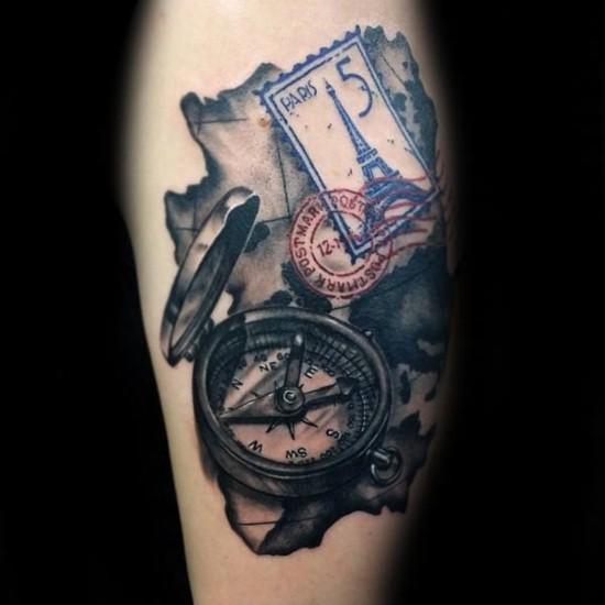 3d wanderlust tattoo ideen oberarm