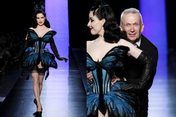 Dita von Teese mit Modeschöpfer Jean-Paul Gaultier