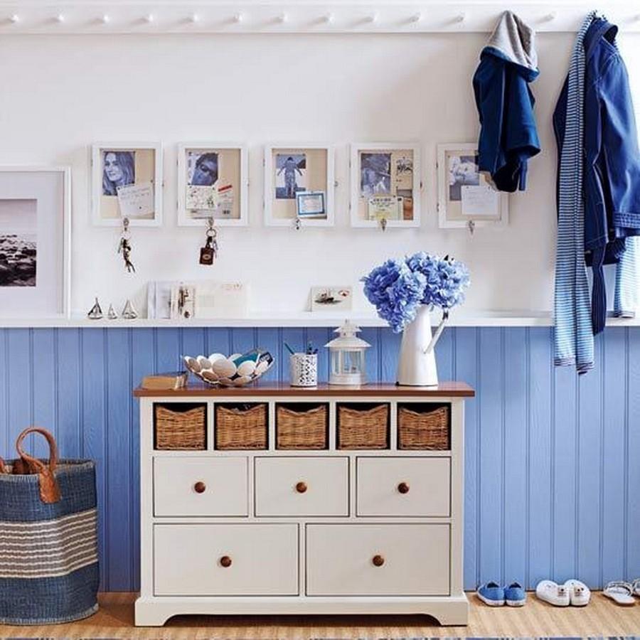 Flurgestaltung Kombination aus Blau und Weiß