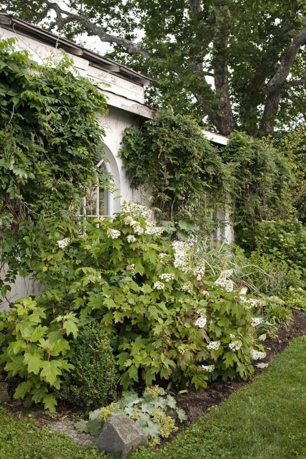 Gartengestaltung Ideen Außenbereich Landhaus viel Grün Sträucher Bäume