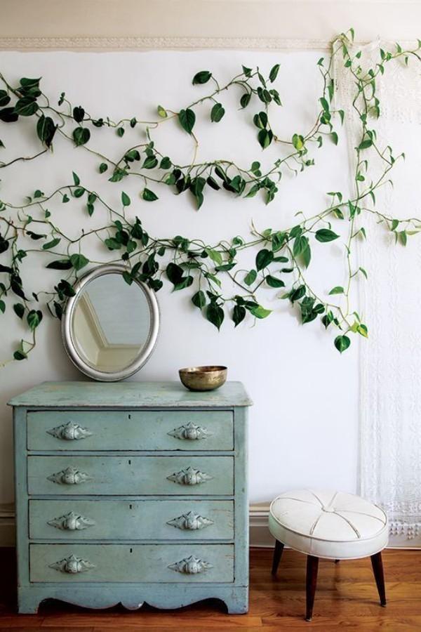 Natur ins Haus holen Efeu an der Wand über einer Vintage Kommode