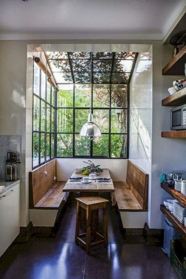 Natur ins Haus holen Essecke Grün draußen beruhigt die Sinne