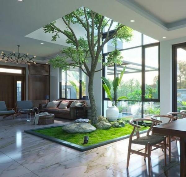Natur ins Haus holen ein Baum Blumen mitten im Zimmer
