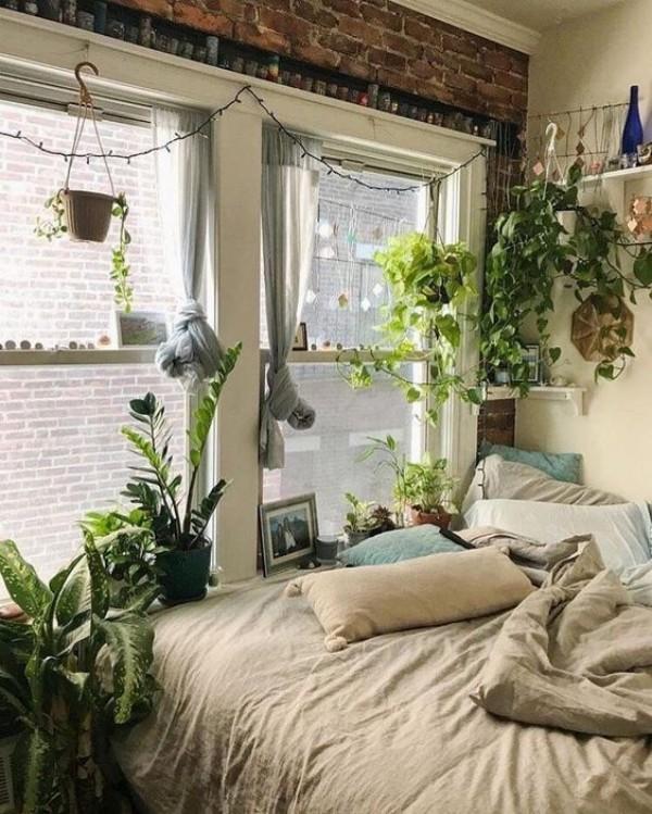 Natur ins Haus holen grüne Oase im Schlafzimmer ruhige Atmosphäre